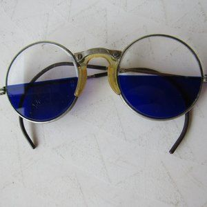 Antique Blue and Clear Welders Glasses